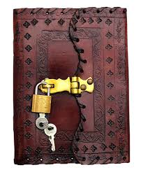 love this product stitched embossed leather journal with lock key