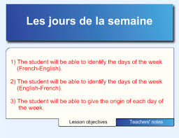 French Days Of The Week Smart Exchange Usa French Days Of The Week