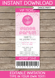 Concert Ticket Invitations Template Unique Dance Party Ticket Invitations Birthday Party