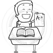 student desk clipart black and white. boy student (black and white line art) desk clipart black