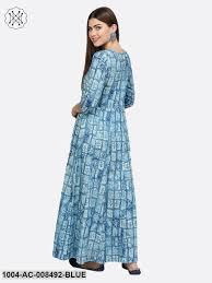 Light Cotton Maxi Dress Light Blue Printed 3 4th Sleeve Cotton Maxi Dress