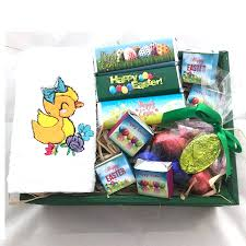 easter towel and chocolates gift basket