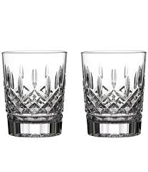 waterford lismore crystal double old fashioned glass pair