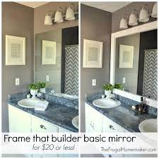 How To Frame Out That Builder Basic Bathroom Mirror For 20 Or Less The Frugal Homemaker