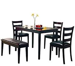 coaster 5pc dining table chairs bench set cappuccino finish