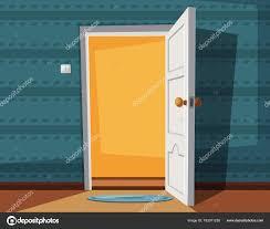 open door cartoon vector ilration inside of home stock vector