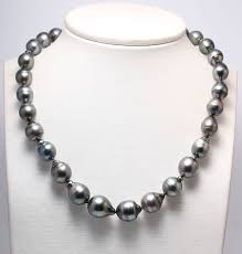 9 5x13mm tahitian pearl necklace featuring a matching baroque shaped clasp no reserve