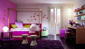 bedroom design for girls purple. Perfect Wooden Canopy Bed Frames With Purple Covers Sheet As Well Dark Fur Rug Also Creamy Wall Painted Inspiring Girls Room Ideas Bedroom Design For