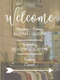 Hours Of Operation Design Welcome Business Hours Decal Open To Close Hours Of