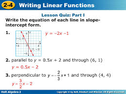 lesson quiz part i write the equation of each line in slope intercept form