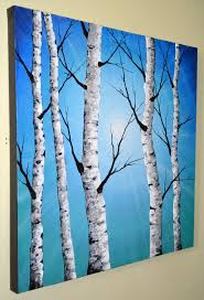 original abstract contemporary art textured birch tree painting 24x24 home decor