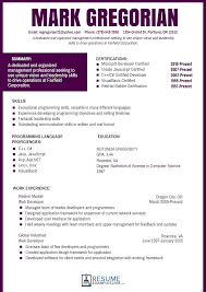 Resume Templates For Oneswordnet Free Curriculum Vitae Template Best