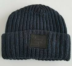love your melon black navy cuffed beanie black leather patch new pouch included