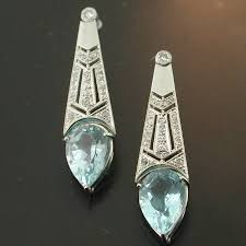 art deco diamond topaz chandelier earrings image 1 of 3