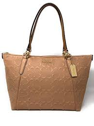 Coach AVA Leather Shopper Tote Bag Handbag (Nude Pink Embossed)  Handbags   Amazon.com