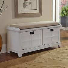Home Styles Arts and Crafts Transitional White Storage Bench