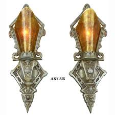 pair of antique red art deco wall sconces lights lighting fixtures ant 375 for antiques com classifieds