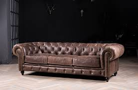 Chesterfield sofa classic sofa with vintage leather for antique