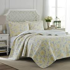 laura ashley joy 3 piece grey lemon king quilt set