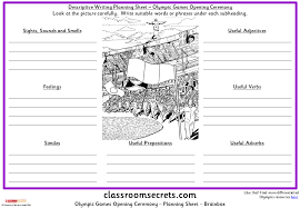olympic games opening ceremony descriptive writing planning sheet  olympic games opening ceremony descriptive writing planning sheet classroom secrets