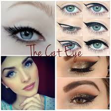 the cat eye can be achieved a few diffe ways liquid liner or smudged crayon and eyeshadow using an angled brush