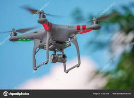 Helicopter Red Green Lights Modern Drone Quadrocopter Camera Flashing Red Green Lights