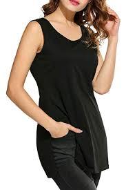Meaneor Womens Side Split Sleeveless Blouses Shirts Tank