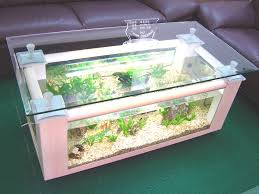 glass fish tank coffee table for small spaces with dark brown leather sofa