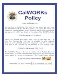 Cash Aid Eligibility Chart Calworks Policy Department Of Public Social Services