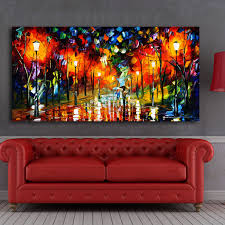 modern landscape painting wall art lovers walks in the night light street canvas printed painting home decor unframed in painting calligraphy from home  on wall art lovers with modern landscape painting wall art lovers walks in the night light