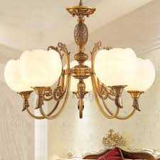 chic 5 light glass shade copper dining room chandelier
