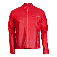 designer elegant mens red leather biker jacket zoom designer