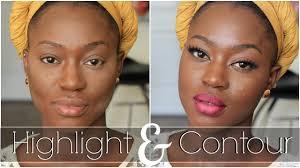 highlight contour color correct for black women makeup tutorial 2016 on dark skin you