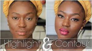 highlight contour color correct for black women makeup tutorial 2016 on dark skin you