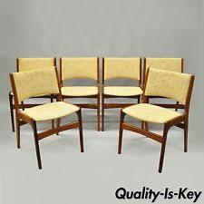 set of 6 teak wood dining chairs mid century danish modern erik buch buck attr
