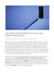 the truman show on reality illusion and scientific revolution