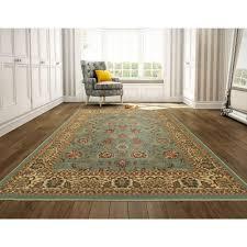 ottomanson ottohome collection traditional fl design seafoam 8 ft x 10 ft area rug