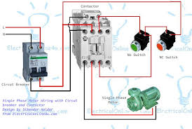 magnetic motor starter wiring diagram single phase motor wiring contactor diagram