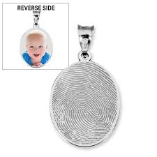 custom fingerprint oval charm or pendant with reverse photo option pg88978