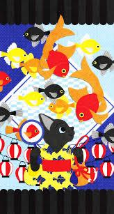 Iphonewallpaperイラストデザイン猫かわいい金魚夏夏祭り動物