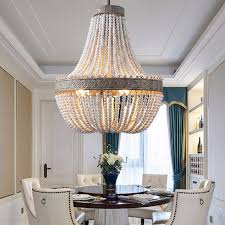 3 light white washed aged wood beads chandelier