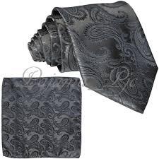 Brand Q Grey New Men's Charcoal Paisley Design Self Necktie and  Handkerchief Set Tie/Bowtie