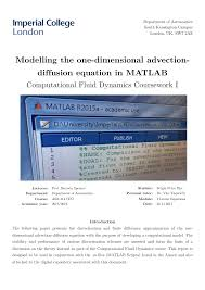 pdf modelling the one dimensional advection diffusion equation in matlab comtional fluid dynamics coursework i