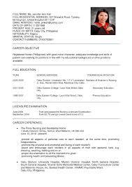 Sample Resume Format For Fresh Graduate Nurses Refrence Resume ...