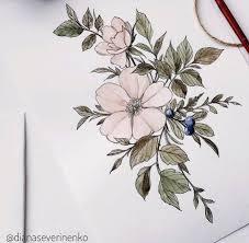 эскиз татуировки с цветами идея тату 29
