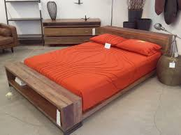 Mid century design of the Cool Full Size Bed Frame with wooden theme idea  combined by headboard also bench also red bedding set. Cool Full Size Bed  Frames ...
