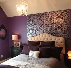 A Purple Bedroom With A DIY Stenciled Accent Wall Using The Anna Damask  Pattern. Http