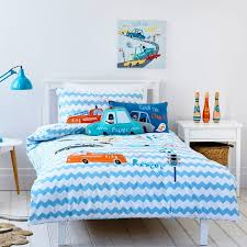aqua blue orange and white police car print cartoon themed 100 cotton twin full size bedding sets for kids