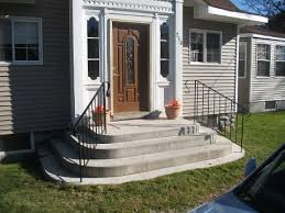 exterior handrails for concrete steps. these exterior iron handrails in concrete steps are our standard handrails/ railings. we can make the handrail posts with 3\ for