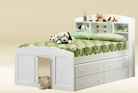 white wooden twin size bed frame with drawers with a nice design